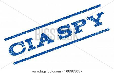 CIA Spy watermark stamp. Text tag between parallel lines with grunge design style. Rotated rubber seal stamp with dust texture. Vector blue ink imprint on a white background.