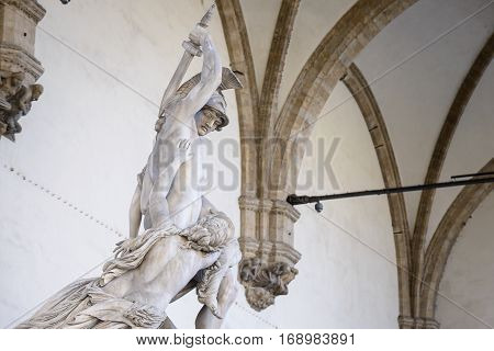 The group The Rape of Polyxena is a fine diagonal sculpture by Pio Fedi from 1865. It is located in the Loggia dei Lanzi of the Piazza della Signoria in Florence Italy.