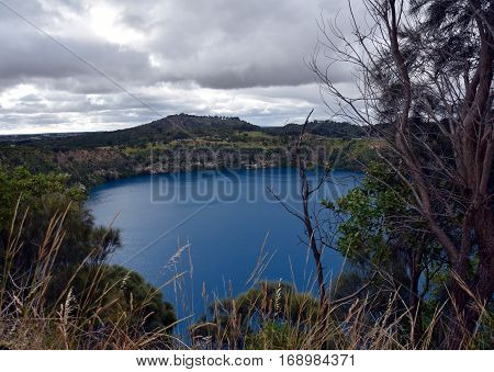 The incredible Blue Lake at Mt Gambier South Australia. The Blue Lake is a large monomictic crater lake located in a dormant volcanic maar associated with the Mount Gambier maar complex.