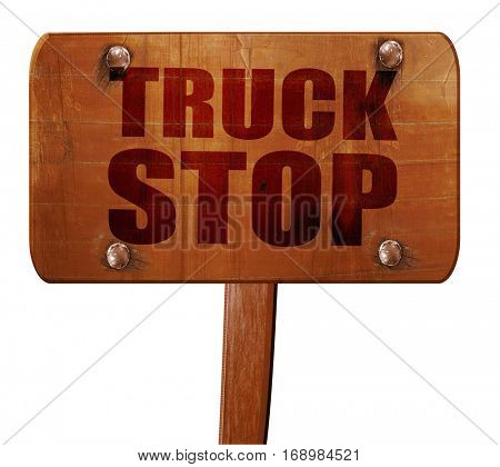 truck stop, 3D rendering, text on wooden sign