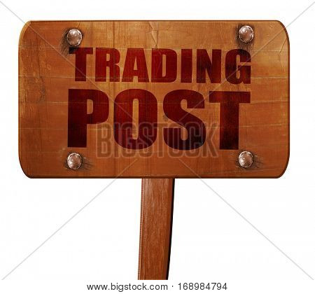 trading post, 3D rendering, text on wooden sign