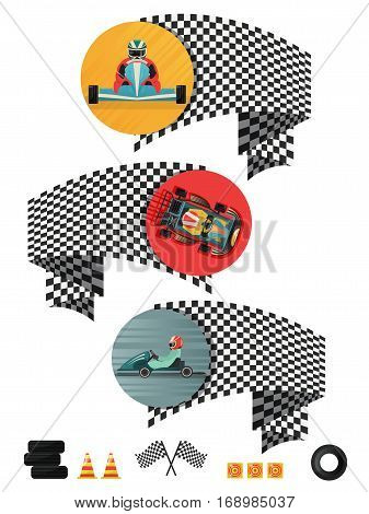 Kart racing concept set with checkered flag isolated vector illustration. Outdoor auto speed racing, extreme karting sport, motorsport road trophy competition. Driver racing on kart in helmet. Cartoon kart concept. Kart transport design.