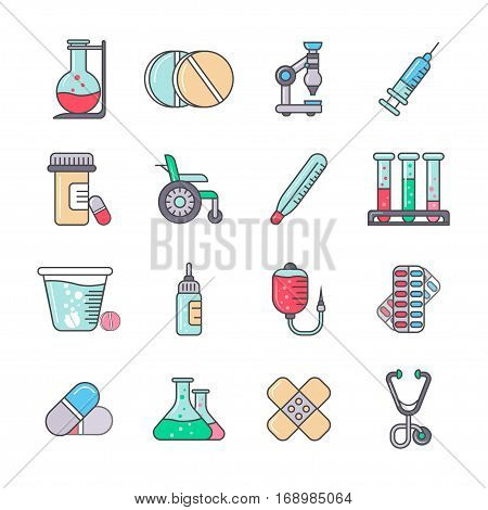 Medical line icon set isolated vector illustration. Stethoscope, microscope, tablet, test tube, pills container, blood transfusion, thermometer, wheelchair pictograms. Medicine and health symbols