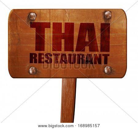 thai restaurant, 3D rendering, text on wooden sign