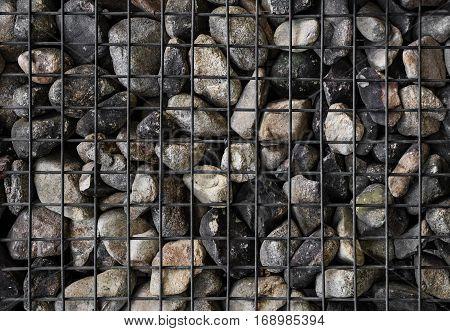 Stones with steel mesh , Gabion wall
