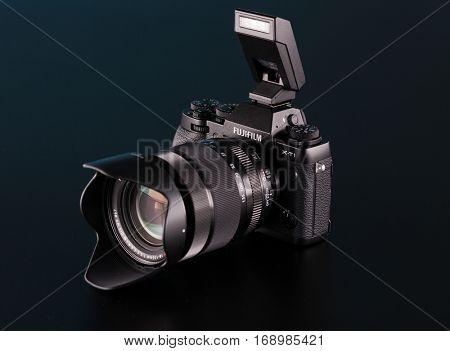BERLIN, GERMANY - June 06, 2016: Fujifilm X-T1 Mirrorless  Digital Camera with  Lens