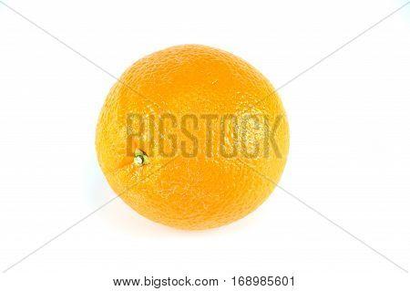 single fresh orange isolated on white background