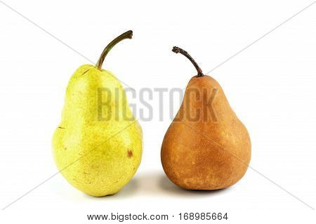 yellow and brown pears isolated on white background