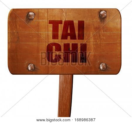 Tai chi, 3D rendering, text on wooden sign