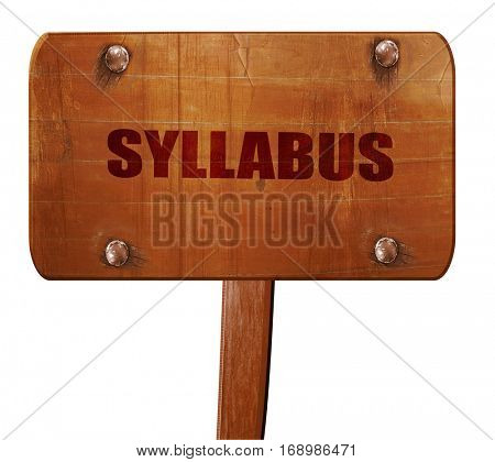 syllabus, 3D rendering, text on wooden sign