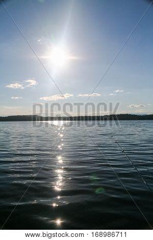 Sunset on the Tagasuk lake. Siberia, Russia