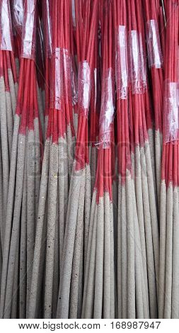Pack of red incense sticks or joss sticks use for asian religion culture
