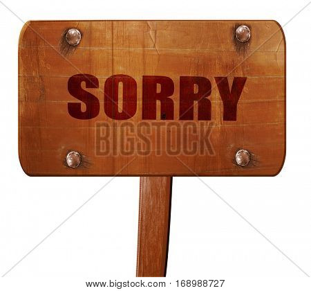 sorry, 3D rendering, text on wooden sign