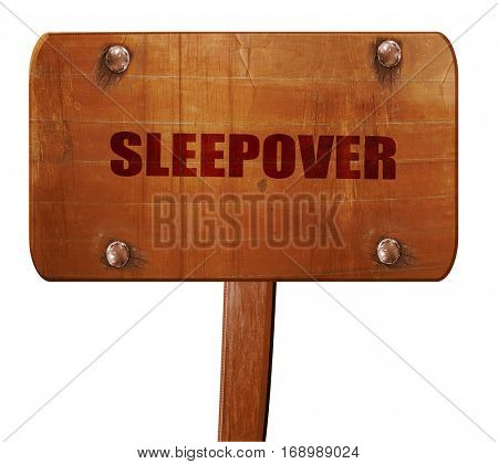 sleepover, 3D rendering, text on wooden sign
