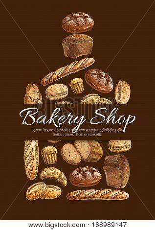 Bakery shop poster. Vector sketch of wheat and rye bread loaf, bagel, croissant, pretzel, sweet bun, muffin, dessert pie for bakery shop, pastry, patisserie