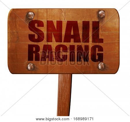 snail racing, 3D rendering, text on wooden sign