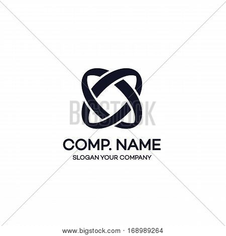 Two circle abstract logo black color on white background can used for corporate identity, marketing firm, funds service, investment and other. Infinity logo. Vector Illustration