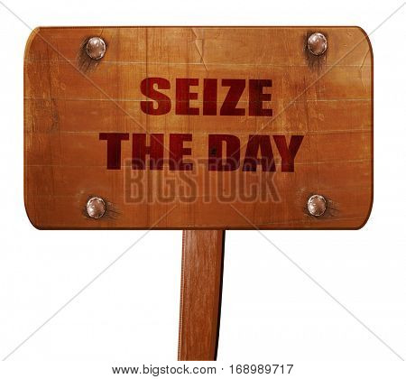 seize the day, 3D rendering, text on wooden sign