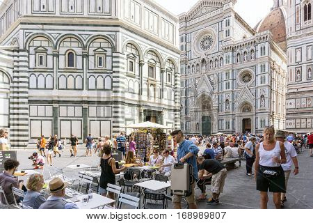 FLORENCE, ITALY - July 25, 2016. Street view of Old Town Florence Tuscany, Italy. is the capital city of the Italian region of Tuscany, with approximately 382,000 inhabitants
