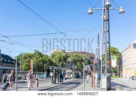 KARLSRUHE, GERMANY - August 25, 2016. Street view of TRAIN STATION in Karlsruhe, Germany, the second-largest city in the state of Baden-W�¼rttemberg, in southwest Germany.