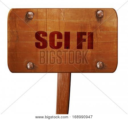 sci fi, 3D rendering, text on wooden sign