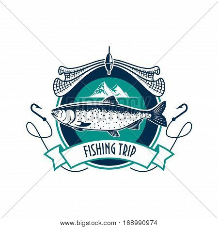 Fishing icon. Fishery industry or fisher trip sport club vector isolated round badge sign with humpback salmon, trout cod or sturgeon fish, fishing rod with hook, fishing net, and fisherman ship boat vessel in sea or ocean