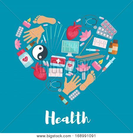 Health and acupuncture heart poster or symbol of oriental alternative or Chinese traditional needle medicine, healthy points on human hands, feet, Yin Yang symbol and lotus, aromatherapy sticks and candle, medical syringe, stethoscope, cardiogram