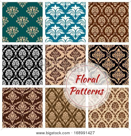 Flowery and floral ornate patterns set. Seamless Damask flower ornaments and baroque flourish tiles or backdrops. Ornamental luxury royal tracery adornment and embellishment motif. Vector design for interior