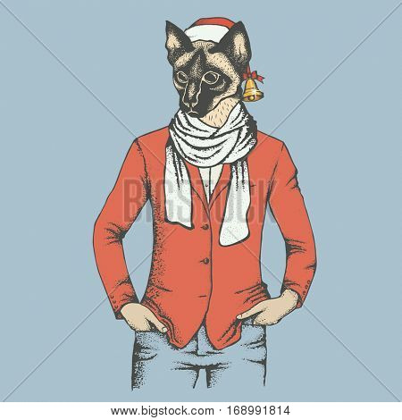 Vector cat concept. illustration of cat in human suit
