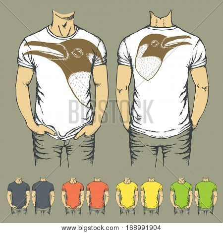 Vector t-shirts templates with prints of penguin. Top and back side of t-shirts