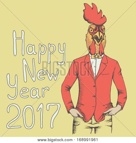 Vector illustration concept. Rooster in human suit. 2017 new year of the rooster