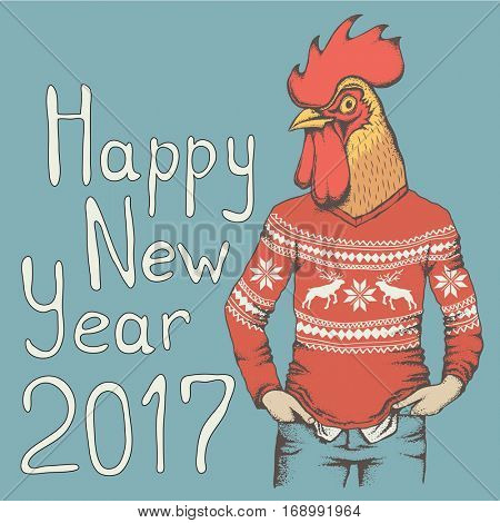 Vector illustration concept. Rooster in human sweatshirt. 2017 new year of the rooster