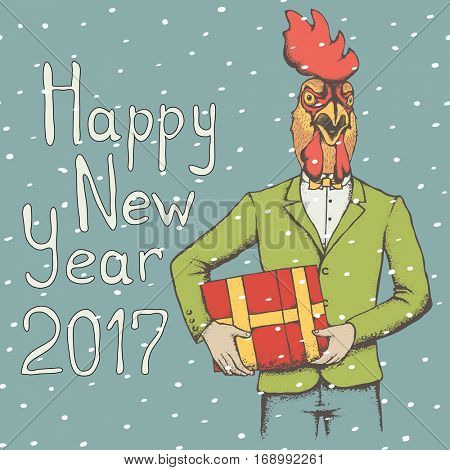 Vector illustration concept. Rooster in human suit with gift. 2017 new year of the rooster
