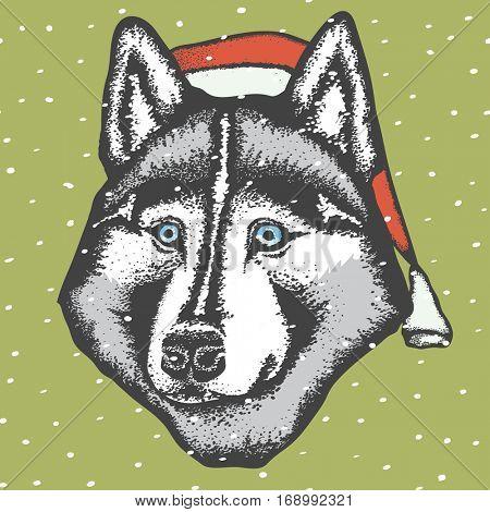 Vector dog concept. Siberian husky dog in Christmas Santa hat vector illustration
