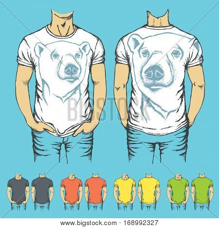 Vector t-shirts templates with prints of white polar bear. Top and back side of t-shirts