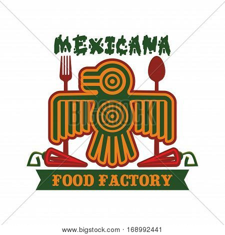 Mexican restaurant emblem. Mexicana icon of vector isolated symbol of Aztec or Inca totem bird, red chili spicy jalapeno pepper, spoon and fork for traditional mexican cuisine, fast food tacos or burritos snacks, tequila drink bar