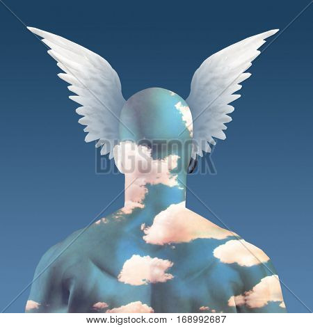 Wings and clouds upon head  3D Render