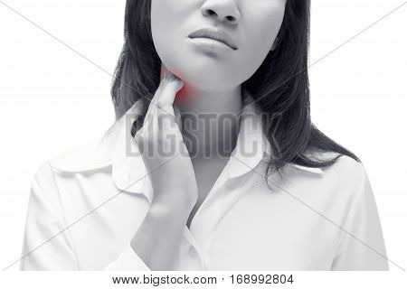 Sore throat of a women. Touching the neck. Isolated on white background.