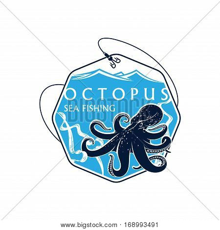 Sea or ocean seafood fishing icon with octopus and seaweed alga. Vector octagonal badge with fish rod, catch on bait hooks and blue waves. Emblem for fishery industry or company, fisherman or fisher trip sport or adventure club