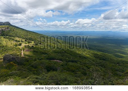 boundless expanse. view from mountains. Santiago. Chiquitania Bolivia Stock photo