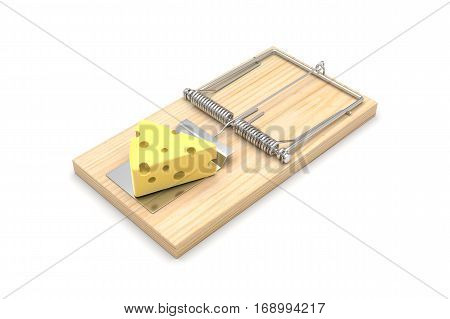 Mousetrap with cheese, isolated on white. 3D illustration