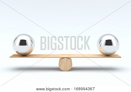 Balls balancing, Balanced concept on white background. 3D illustration