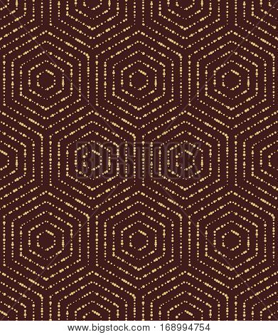Geometric repeating vector ornament with hexagonal golden dotted elements. Geometric modern ornament. Seamless abstract modern pattern