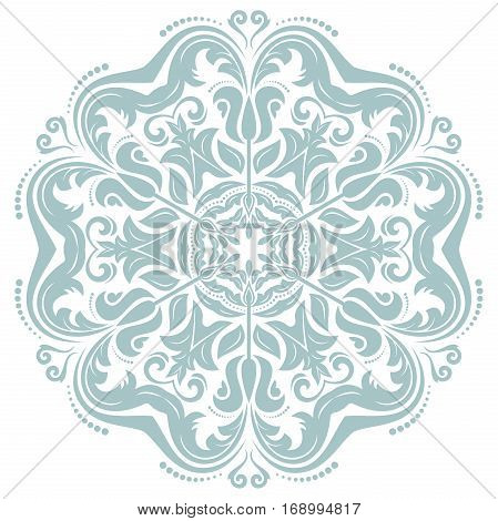 Oriental vector round light blue pattern with arabesques and floral elements. Traditional classic ornament. Vintage pattern with arabesques