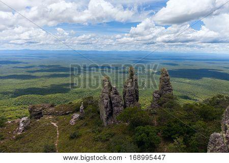 boundless expanse. view from mountains. natural stone pillars. phenomenon. Santiago. Chiquitania Bolivia Stock photo