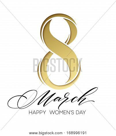 8 March celebration with eight symbol made of gold. Womans Day concept design