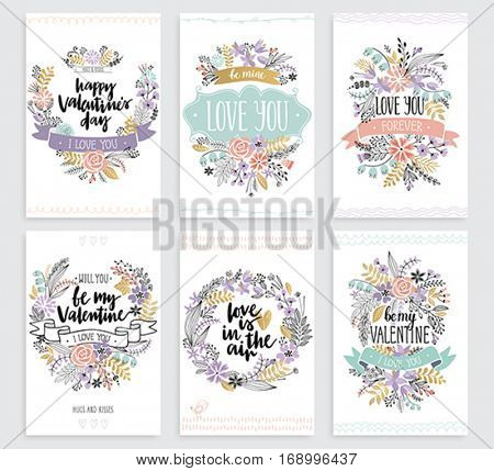 Valentine`s Day Callygraphic cards set - hand drawn Vector illustration.