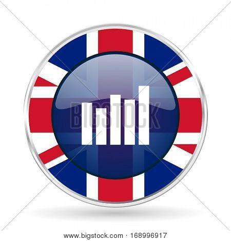 Graph british design vector icon. Round silver metallic border button with Great Britain flag in eps 10.