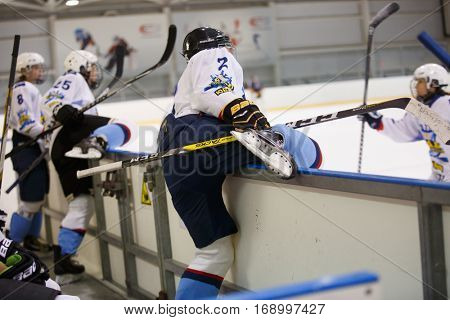 Moscow, Russia - January, 07, 2017: Female amateur hockey leage LHL-77. Game between female hockey team