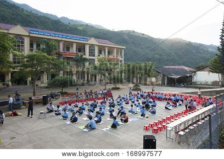 Yen Bai, Vietnam - Sept 22, 2012: A school meeting organized on playground of Mu Cang Chai school. There is more and more investment on education in mountainous region in Vietnam recently